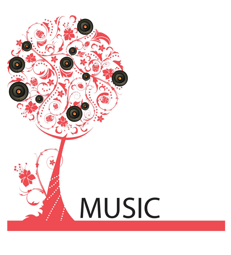 Abstract Illustration Of A Background With A Tree And Speaker