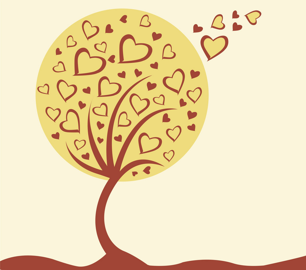 Abstract Illustration Of A Background With A Tree Made Of Hearts