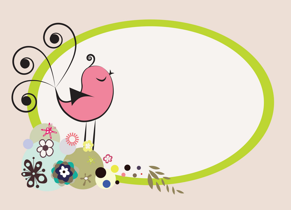 Abstract Illustration Of A Background With Floral And Bird