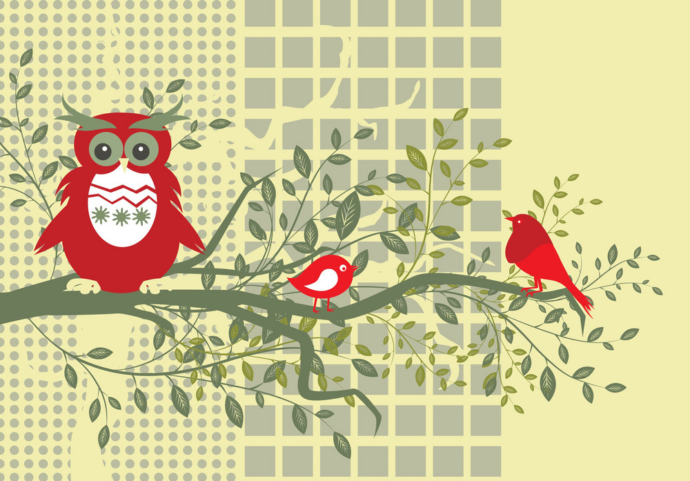 Abstract Illustration Of A Background With Floral And Birds