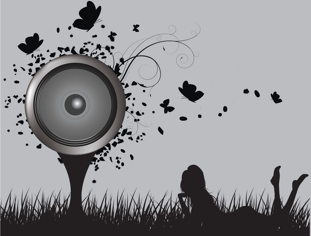 Abstract Illustration Of A Tree With Butterflies And Speaker