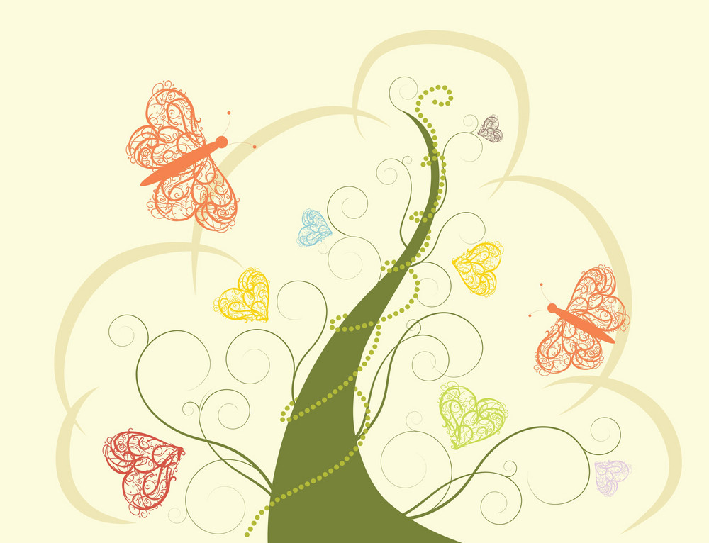 Abstract Illustration Of A Tree With Butterflies