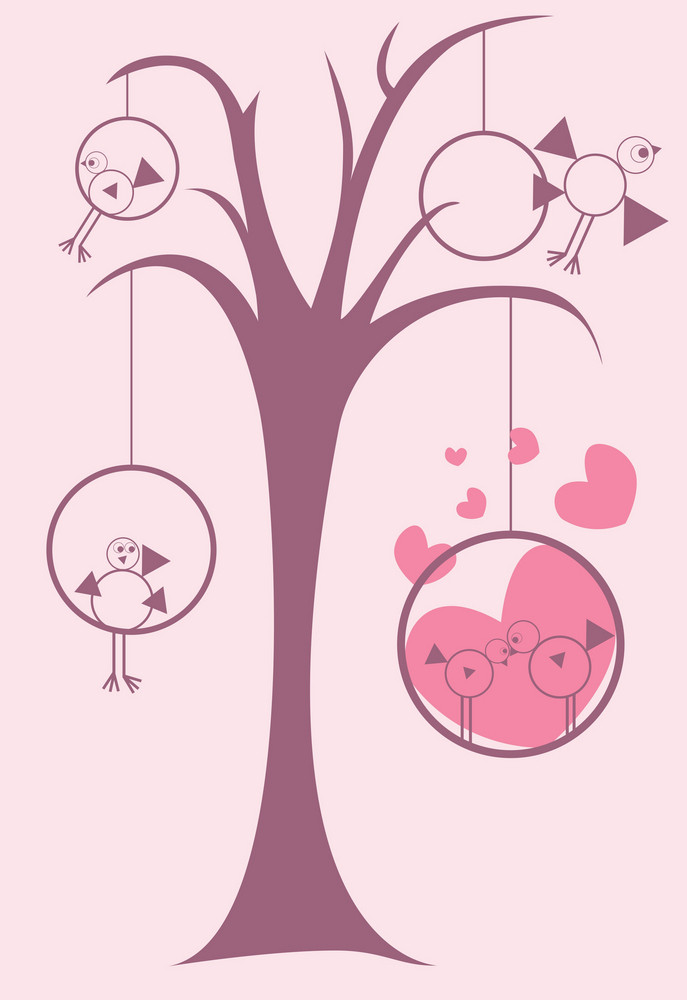 Abstract Illustration Of A Tree With Hearts