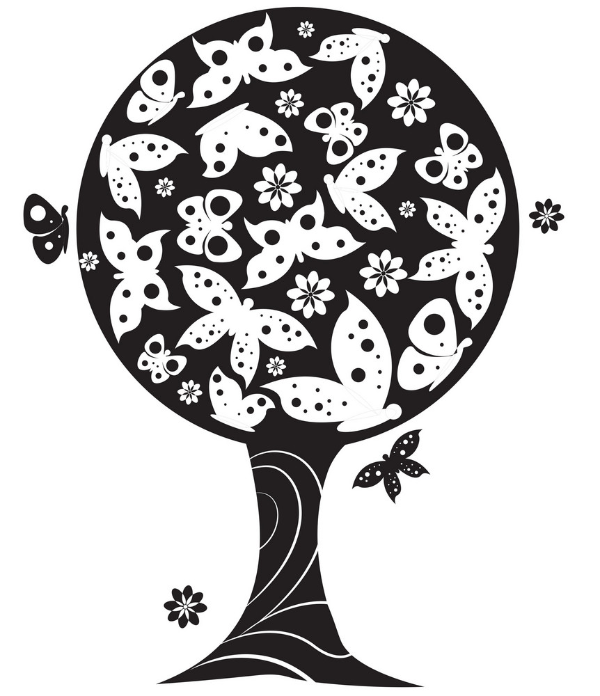 Abstract Illustration Of A Tree With Lots Of Butterflies