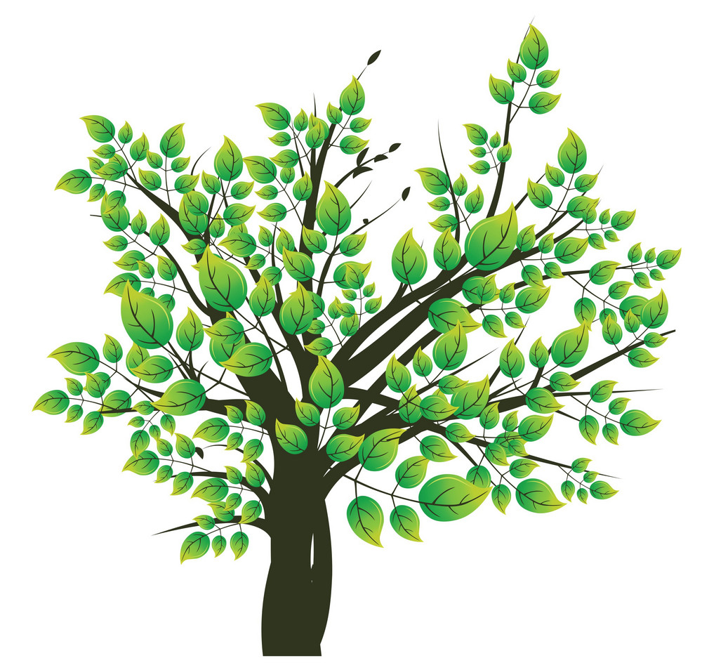 abstract illustration of a tree with lots of leaves royalty free
