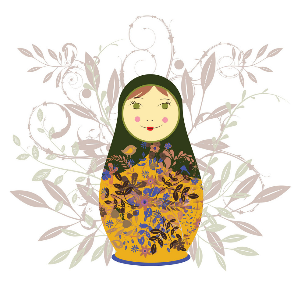 Abstract Illustration Of Beautiful Russian Doll With Floral