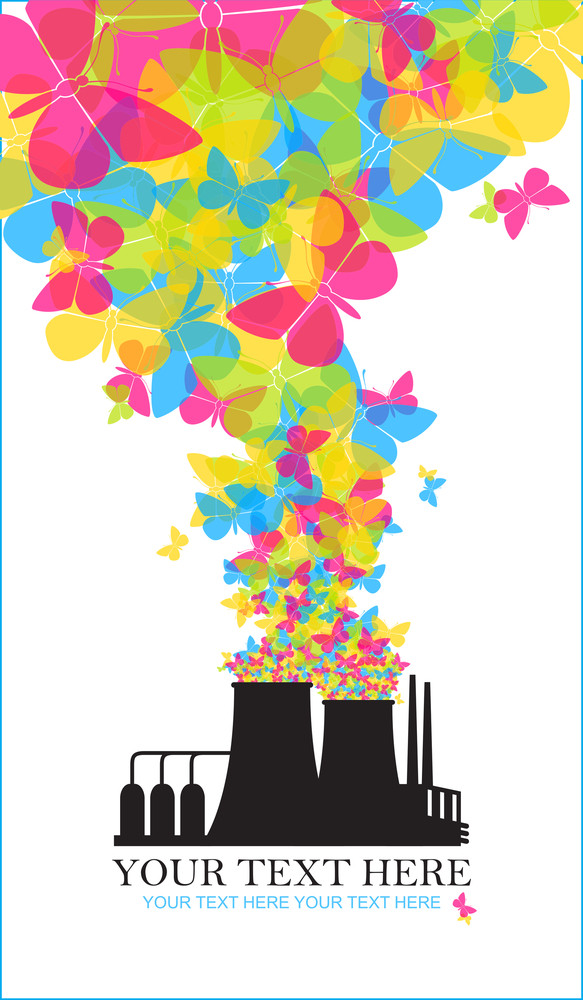Abstract Illustration Of Factory With Butterflies. Vector.