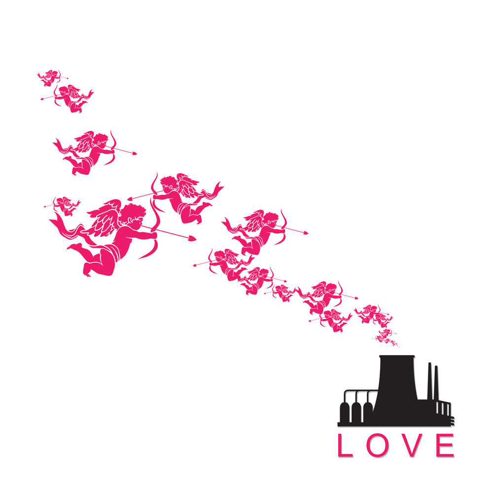 Abstract Illustration Of Factory With Cupids. Vector