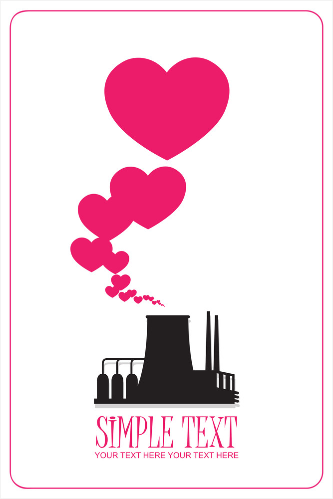 Abstract Illustration Of Factory With Hearts. Vector.