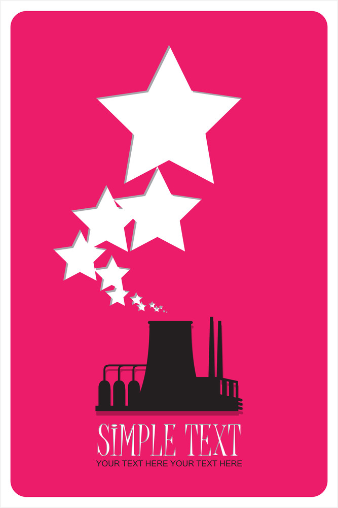 Abstract Illustration Of Factory With Stars. Vector
