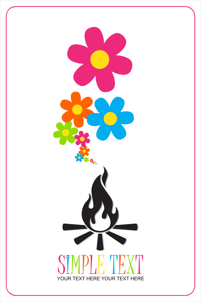 Abstract Illustration Of Fire And Flowers Instead Of A Smoke.