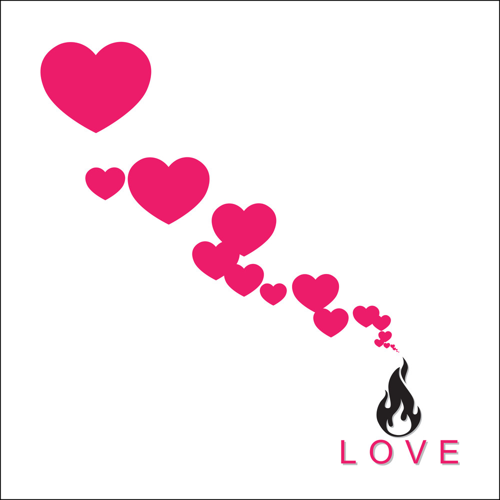 Abstract Illustration Of Fire And Hearts Instead Of A Smoke.