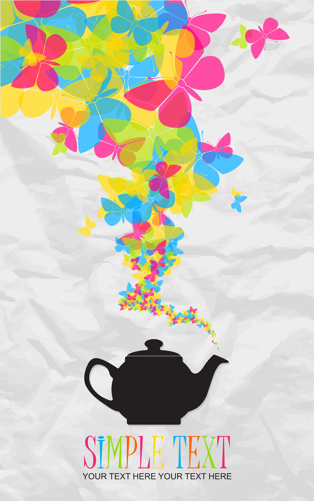 Abstract Illustration Of Teapot With Butterflies On A Paper-background.