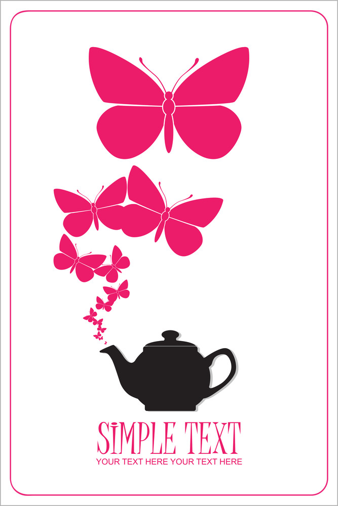 Abstract Illustration Of Teapot With Butterflies.