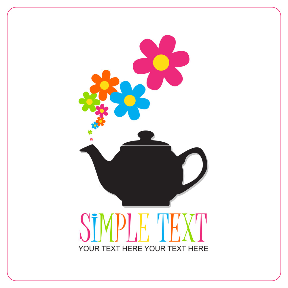 Abstract Illustration Of Teapot With Flowers.