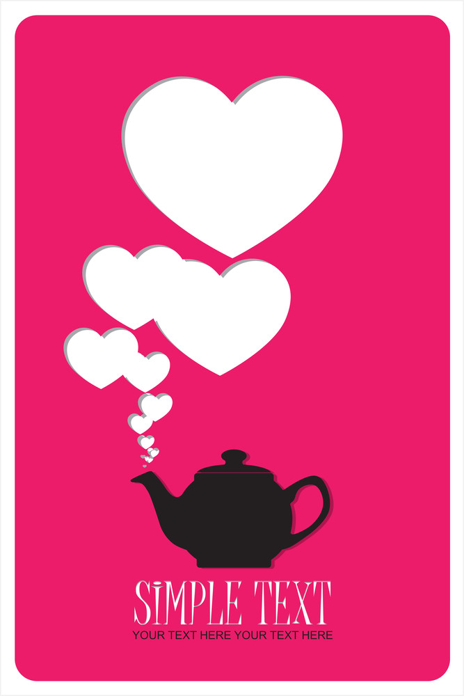 Abstract Illustration Of Teapot With Hearts.