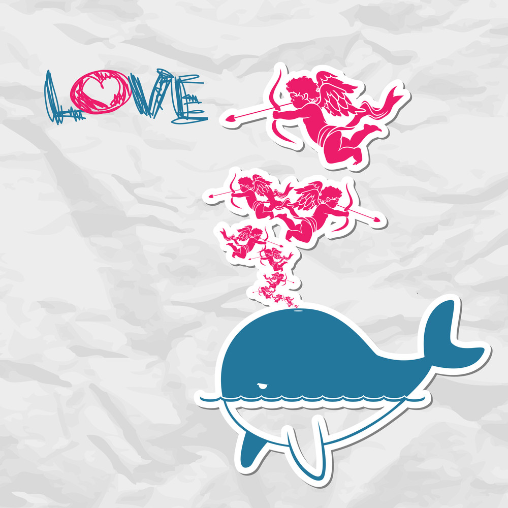 Abstract Illustration Of Whale With Cupids.