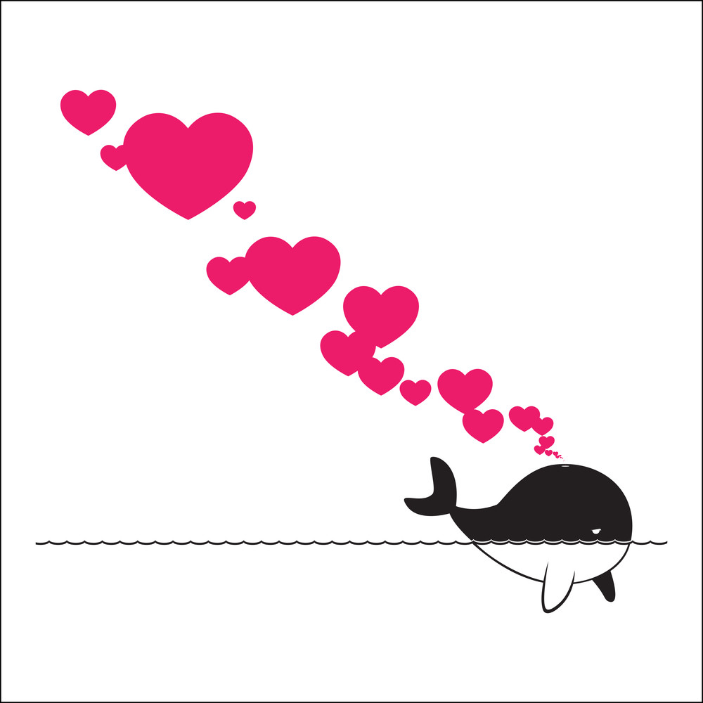 Abstract Illustration Of Whale With Hearts.