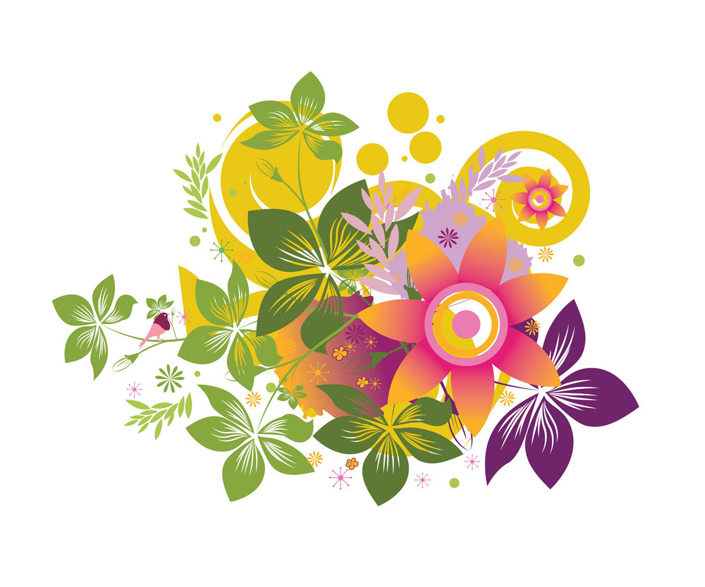 Abstract Illustration With Beautiful Floral And Bird