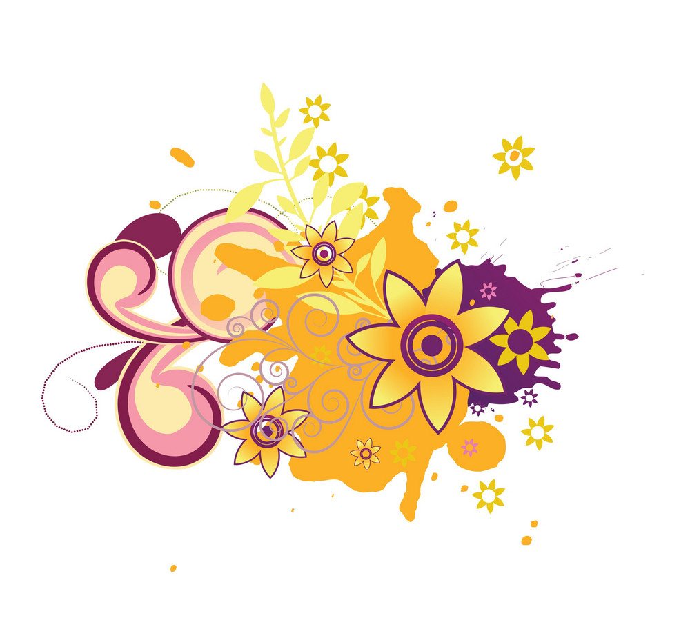 Abstract Illustration With Grunge And Beautiful Floral
