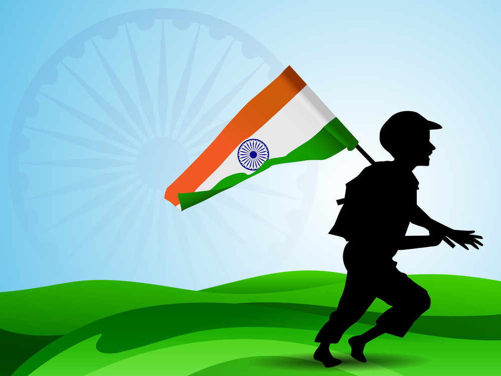 Abstract Indian Flag Background With Silhouette Of Running Soldier And Flag.