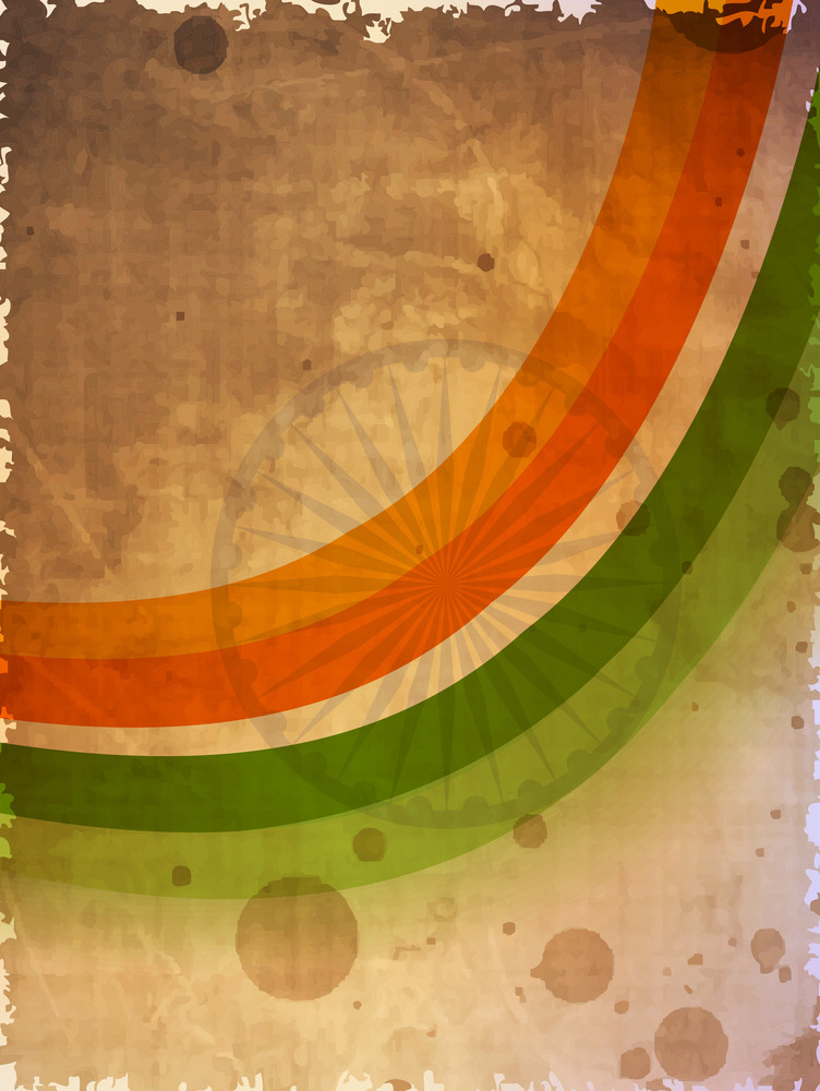 Abstract Indian Flag Wave On Grungy Background.