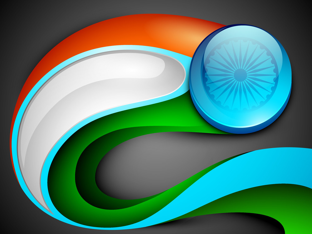 Abstract Indian Flag With Wave.