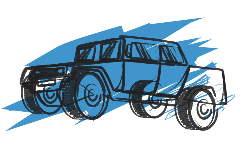 Abstract Jeep Drawing Vector