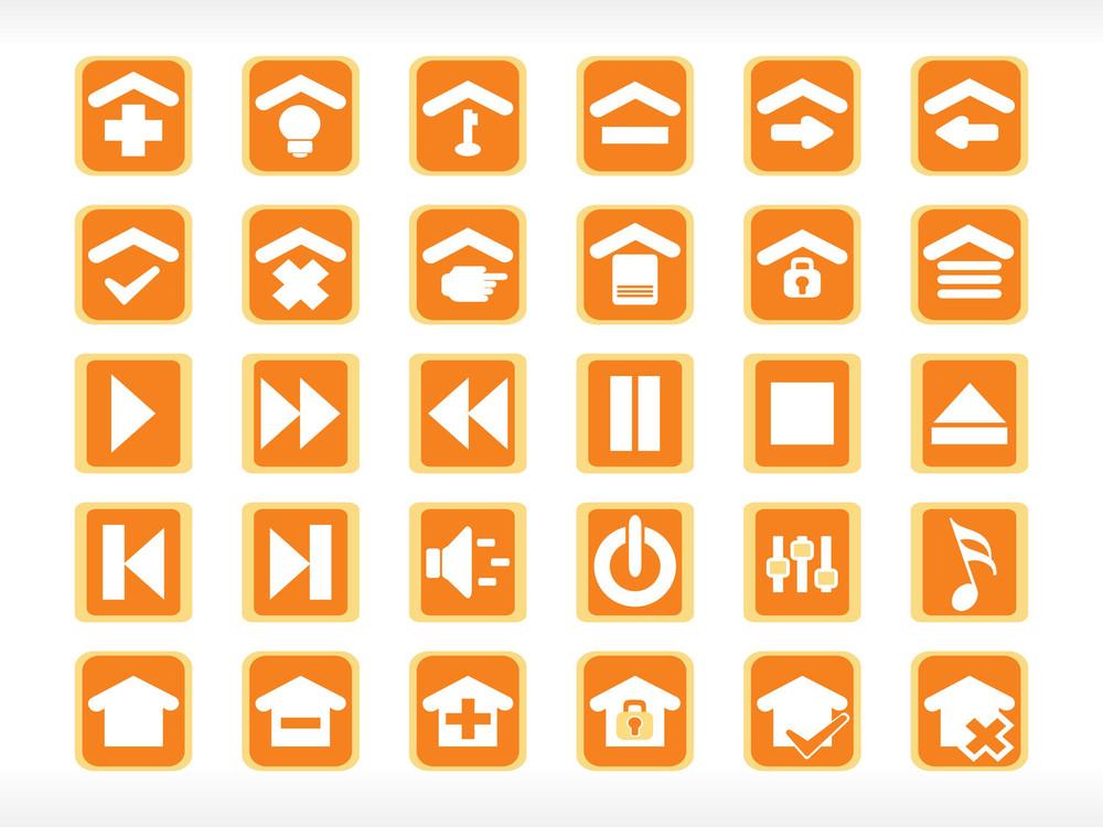 Abstract Media Icon Set Series Orange