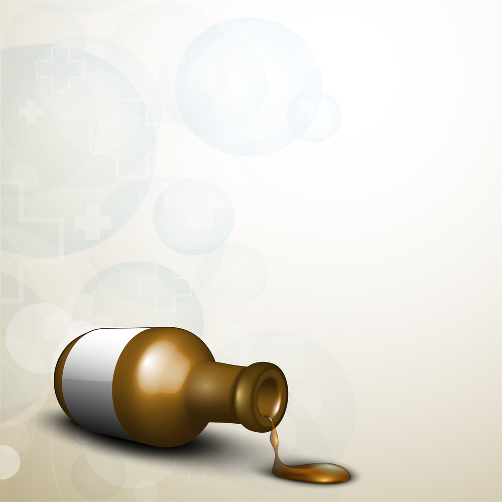 Abstract Medical Concept With A Syrup Bottle On Grey Background.