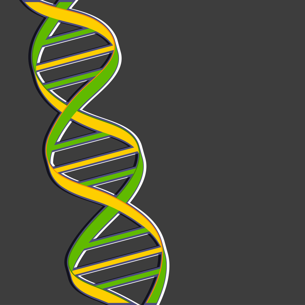 Abstract Medical Concept With Colorful Dna On Grey Background.