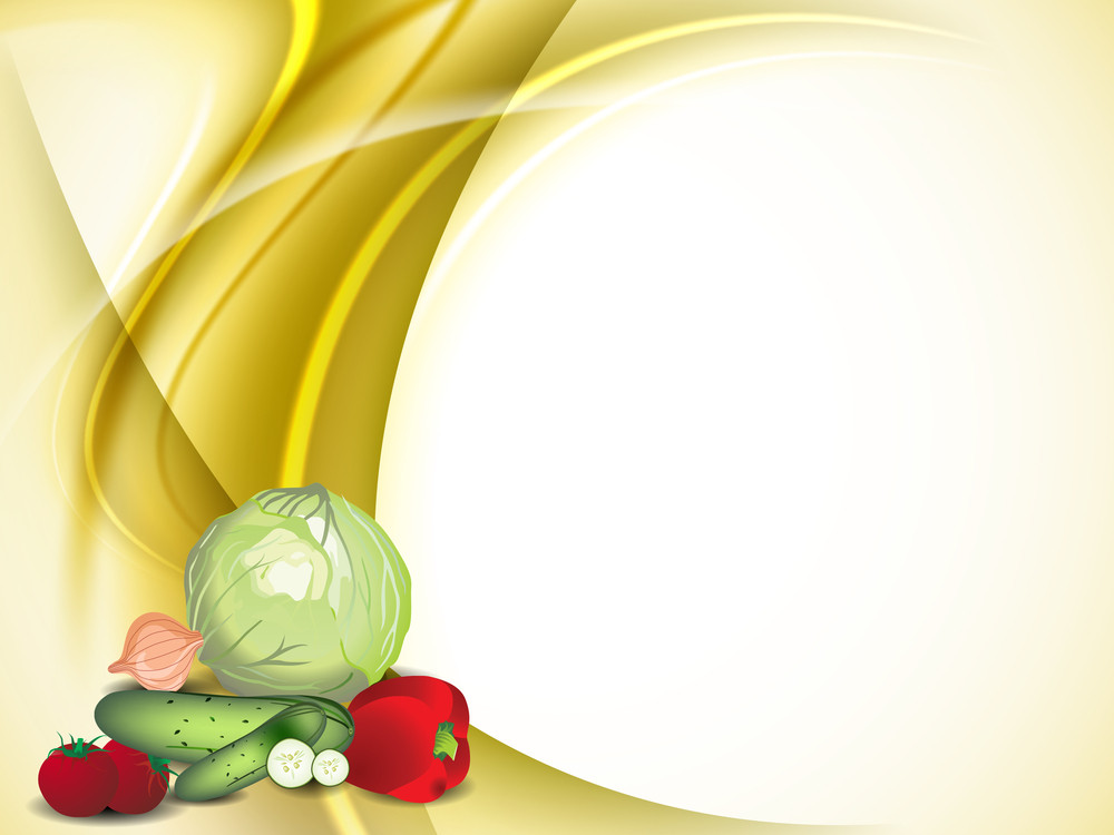 Abstract Medical Concept With Fruits And Vegetables On Yellow Wave Background.