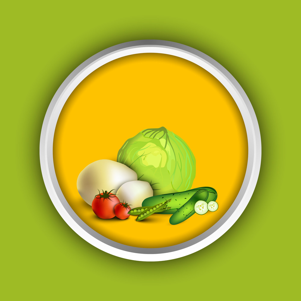 Abstract Medical Concept With Fruits And Vegetables