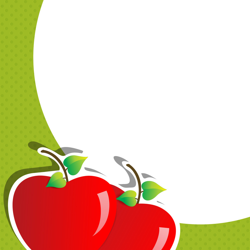 Abstract Medical Concept With Glossy Red Apple On Green And White Background.