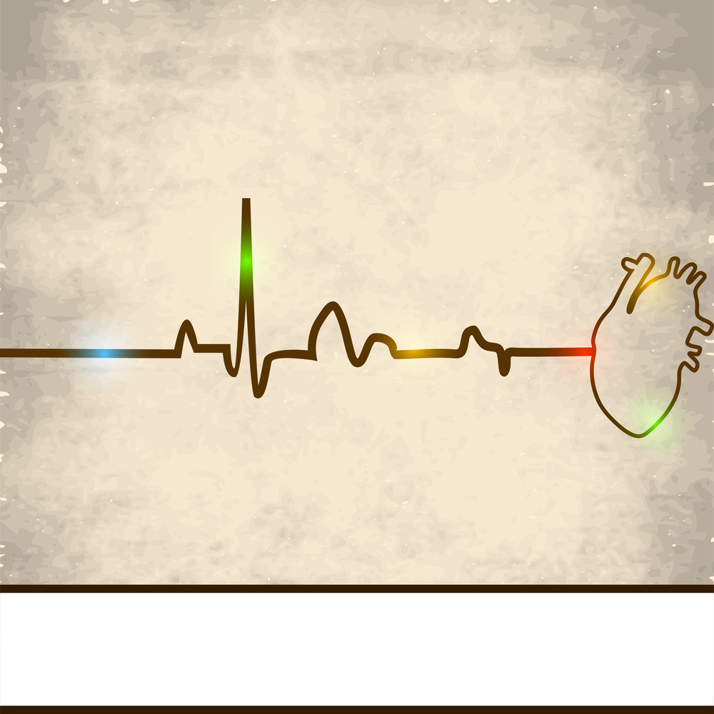 Abstract Medical Concept With Heart Beat And Heart On Grungy Brown Background.