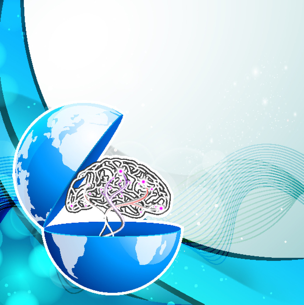 Abstract Medical Concept With Human Brain In Globe On Blue Wave Background.