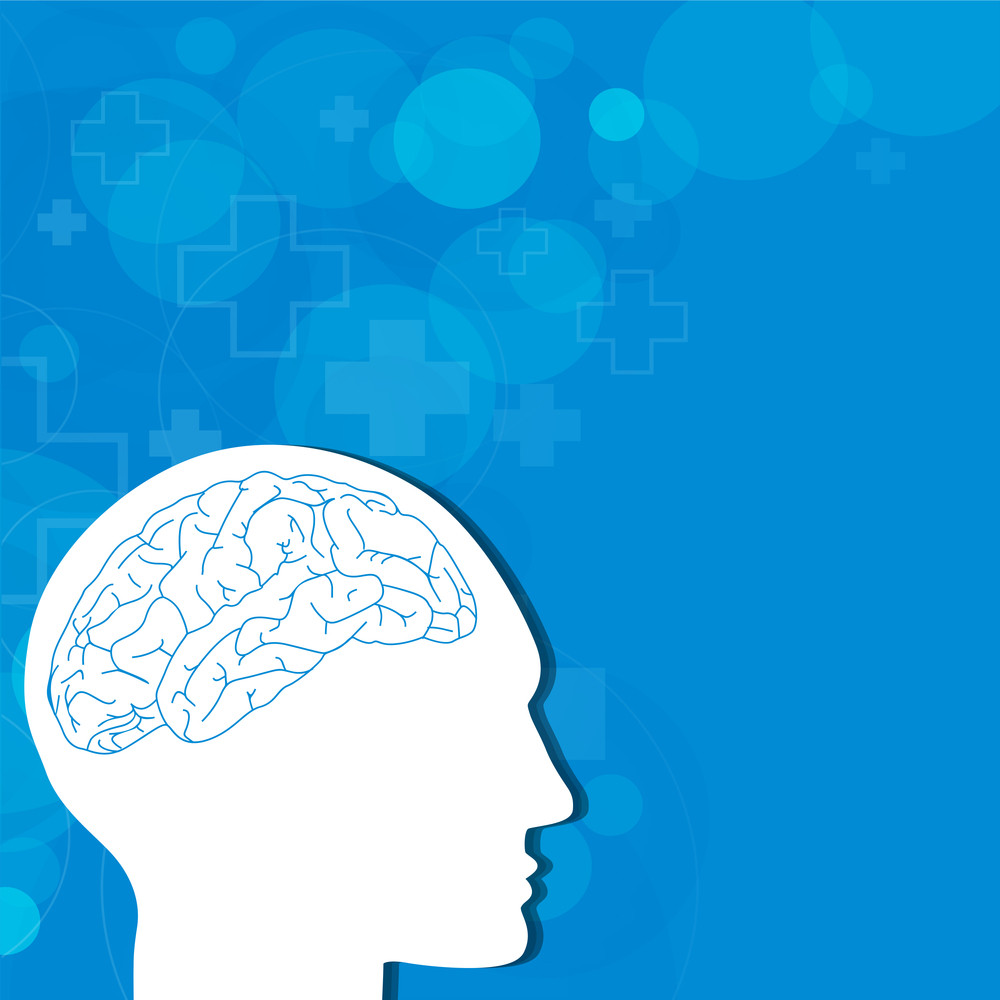 Abstract Medical Concept With Human Brain On Blue Background.