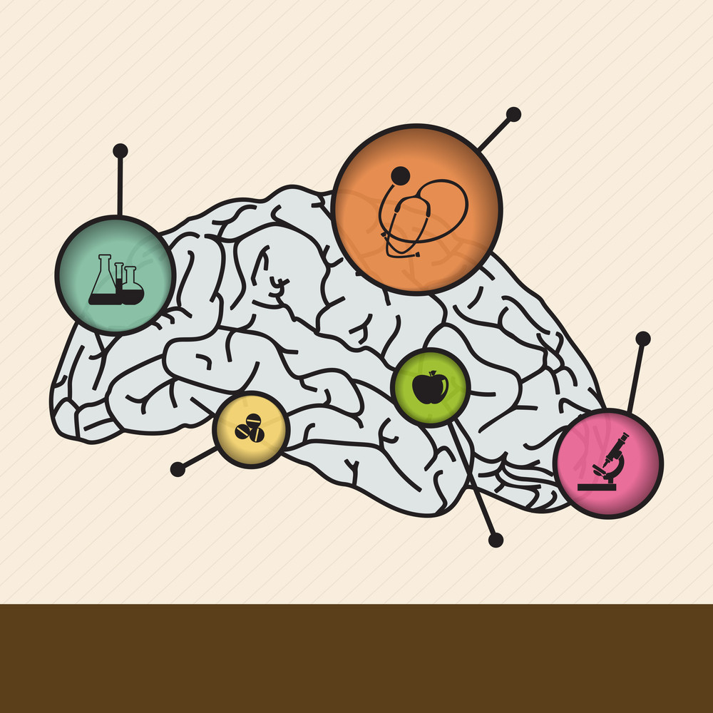 Abstract Medical Concept With Human Brain On Brown Background.