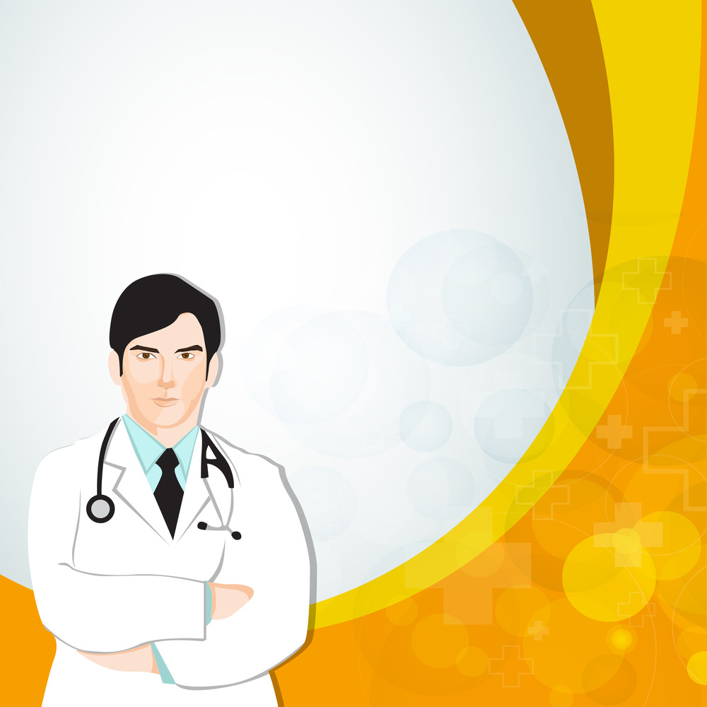 Abstract Medical Concept With Illustration Of A Doctor On Yellow Waves Background.