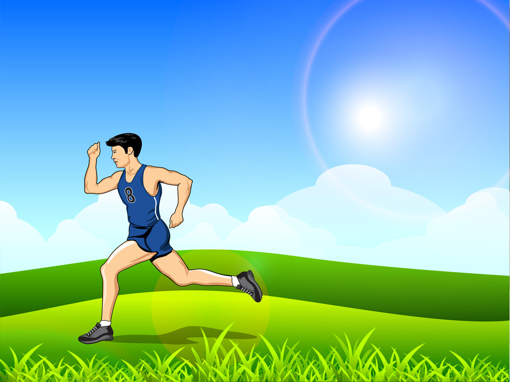 Abstract Medical Concept With Illustration Of A Man Running In Morning.