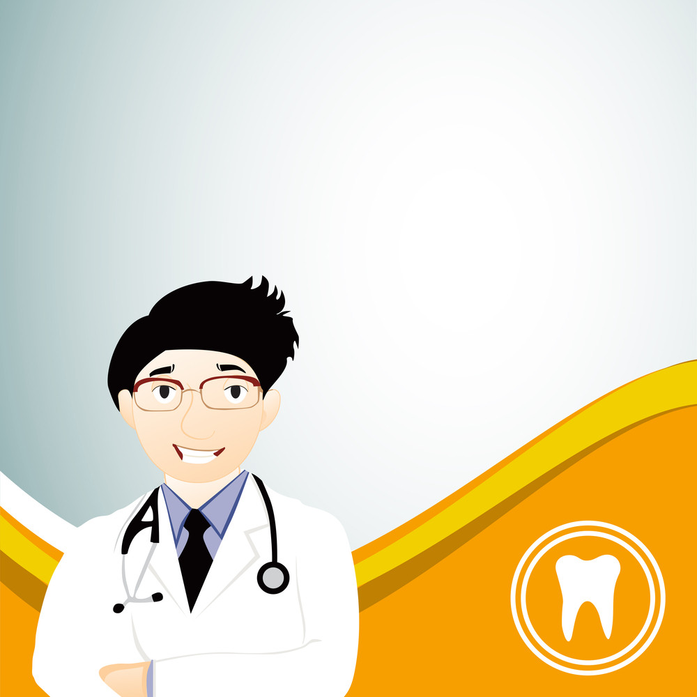 Abstract Medical Concept With Illustration Of A Smiling Doctor On Yellow Wave Background.