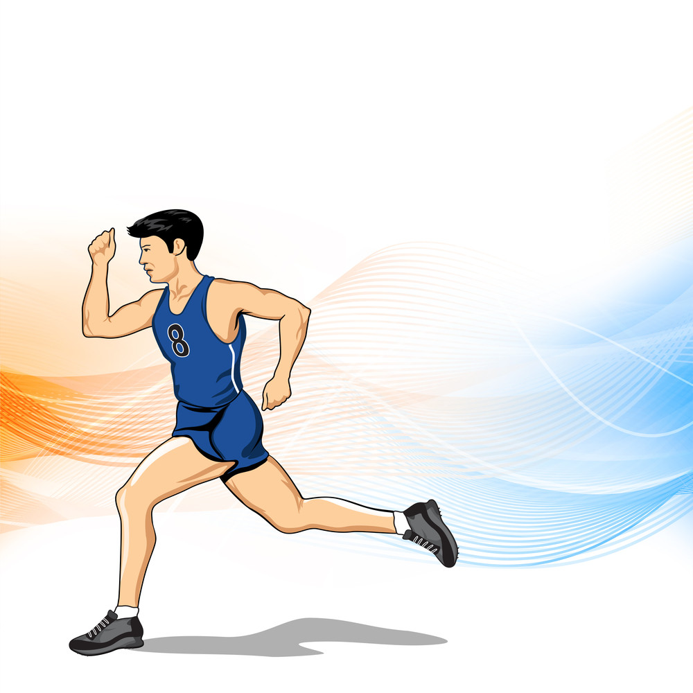 Abstract Medical Concept With Illustration Of A Young Man Running On Colorful Waves Background.