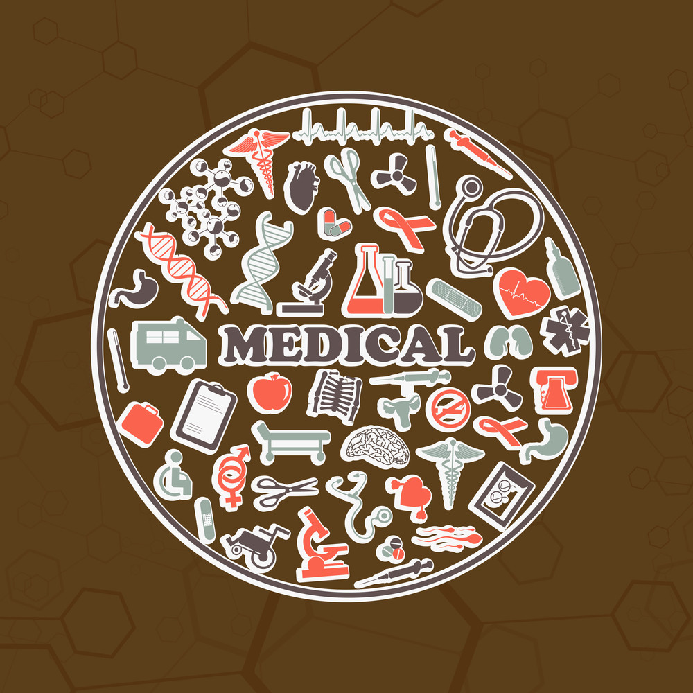 Abstract Medical Concept With Medical Elements On Brown Background.