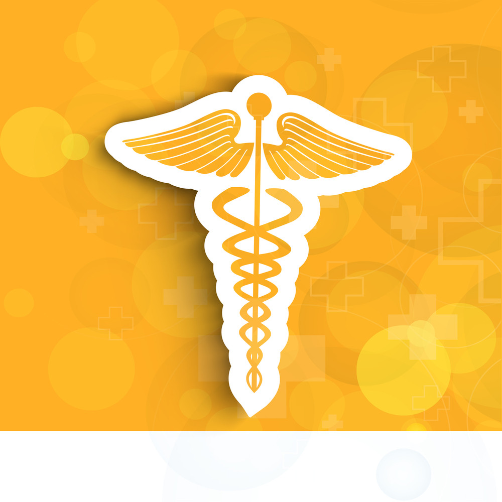 Abstract Medical Concept With Medical Symbol On Shiny Yellow Background.