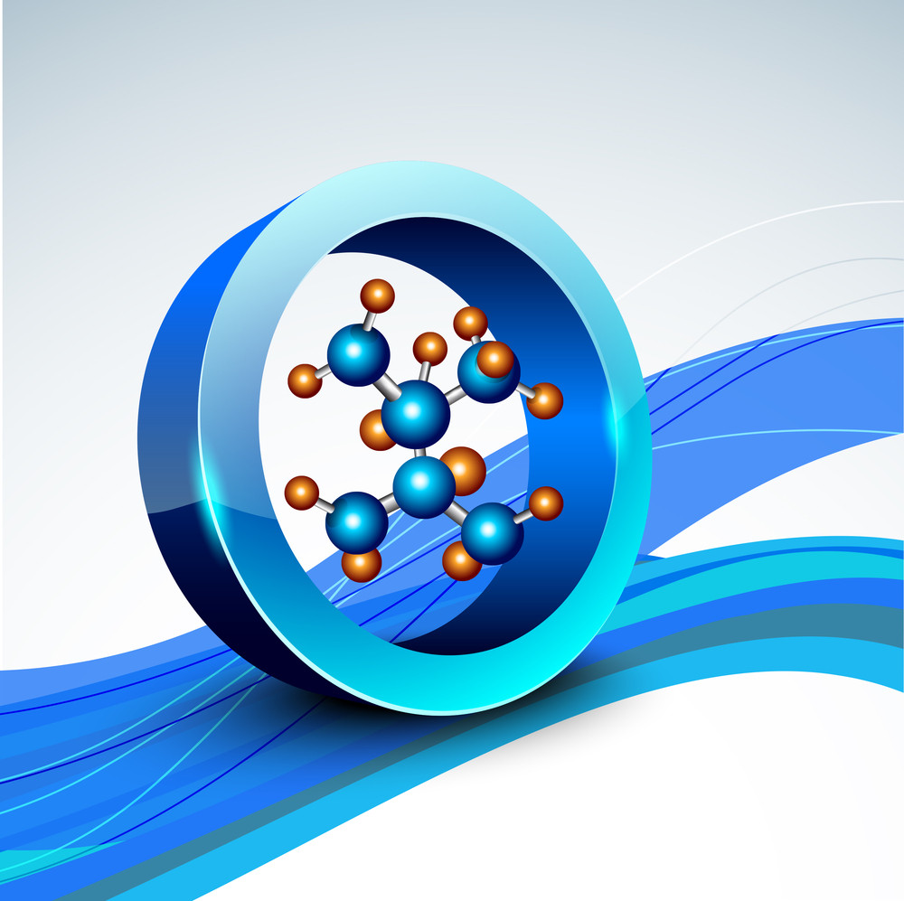 Abstract Medical Concept With Molecule On Blue Waves Background.