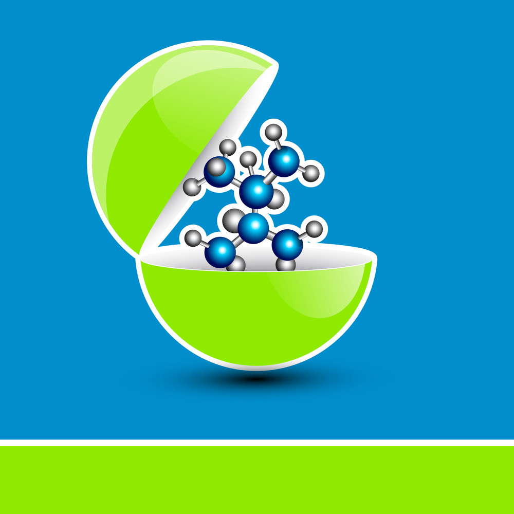 Abstract Medical Concept With Molecules On Blue Background.