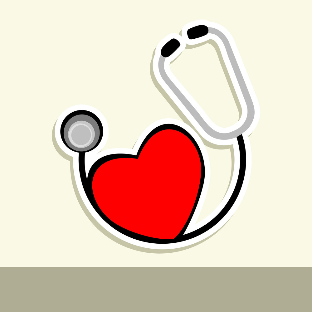 Abstract Medical Concept With Red Heart And Sethescope On Yellow Abstract Background.