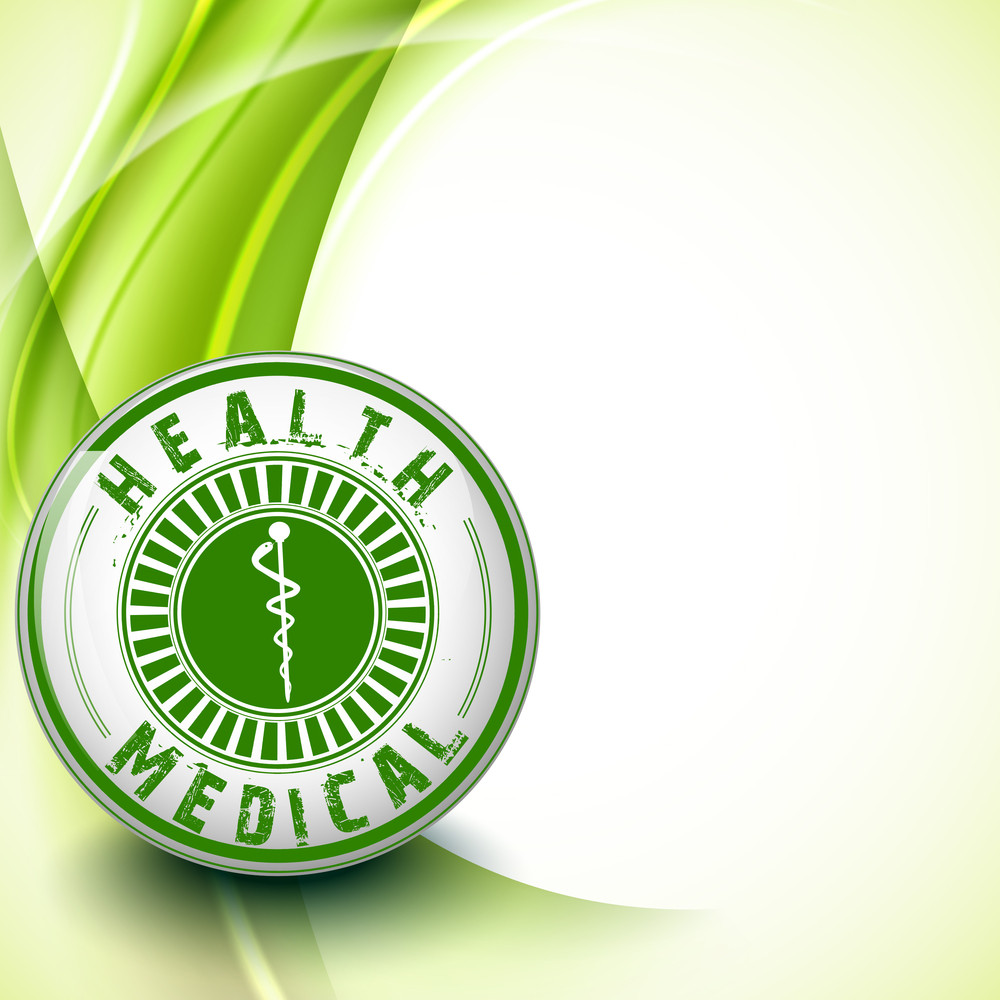 Abstract Medical Concept With Rubber Stamp With Green Text On Wave Background.