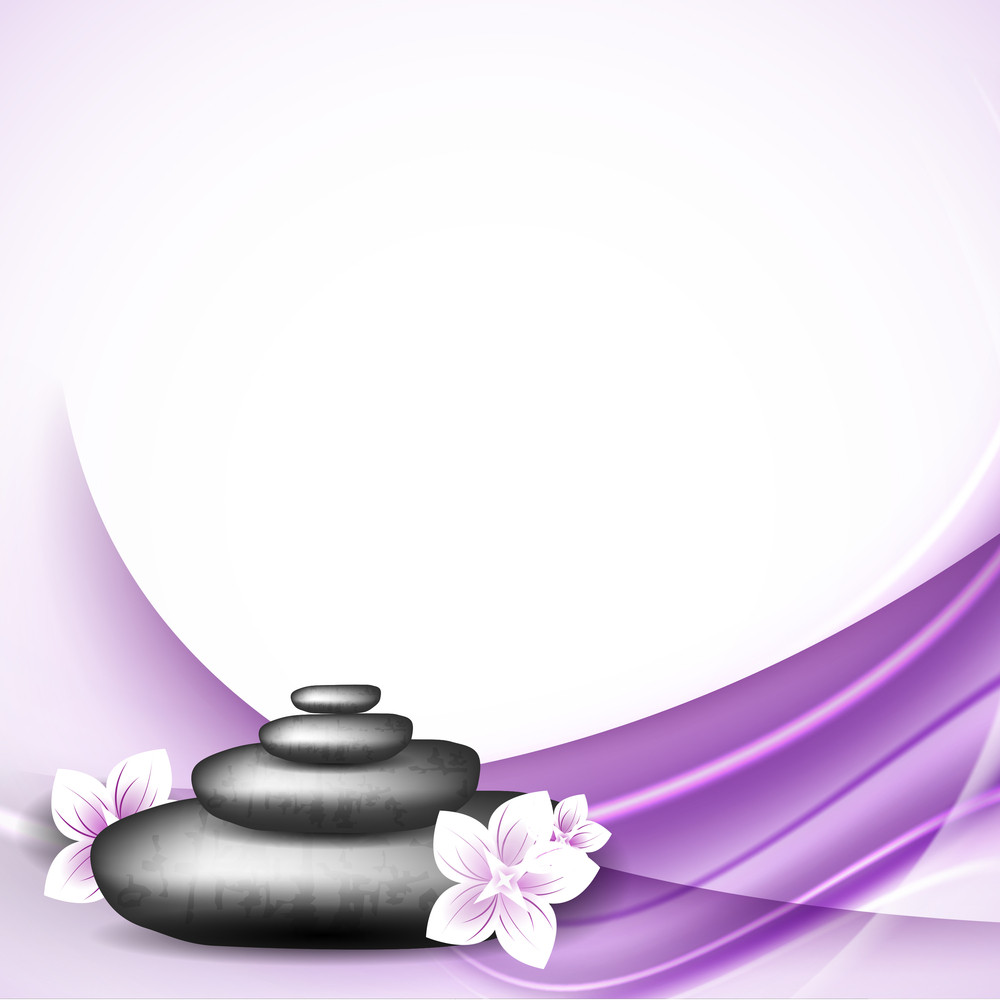 Abstract Medical Concept With Spa Elements On Purple Wave Background.