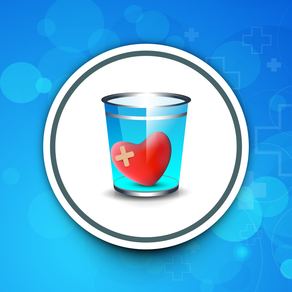 Abstract Medical Concept With Test Tube With Red Heart Shape On Blue Background.